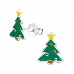 Karácsonyfa ezüst fülbevaló