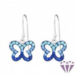 Pillangó formájú kék színű kristály fülbevaló, egy pár