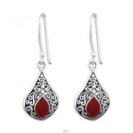Piros csepp formájú elegáns beakasztós ezüst fülbevaló