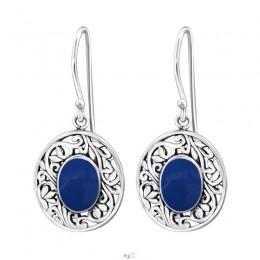 Ovális kék elegáns beakasztós ezüst fülbevaló