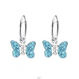 Kék köves pillangós ezüstfülbevaló