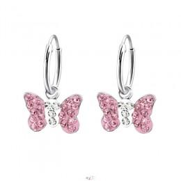 Pink köves pillangós ezüstfülbevaló