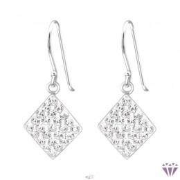 Szögletes ezüst kristály fülbevaló, egy pár