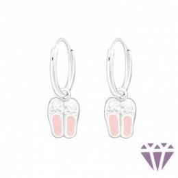 Balettcipő karika ezüst fülbevaló