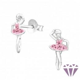 Táncos balerina ezüst fülbevaló
