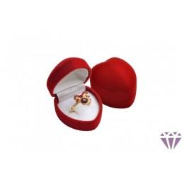Piros bársony ékszertartó doboz gyűrűhöz