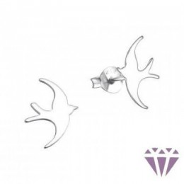 Ezüst madár formájú fülbevaló, egy pár