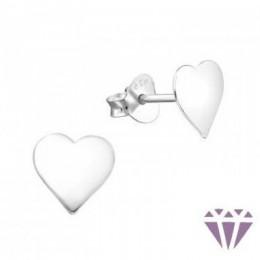 Ezüst szív formájú fülbevaló, egy pár