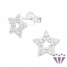 Köves csillag stift ezüst fülbevaló