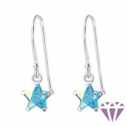 Csillag formájú ezüst fülbevaló, egy pár