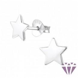 Csillag stift ezüst fülbevaló, 7 x 7 mm