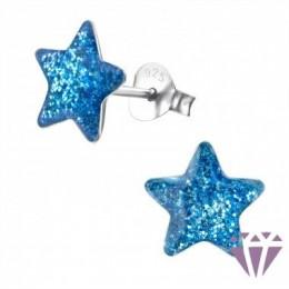 Glitteres csillag stift ezüst fülbevaló