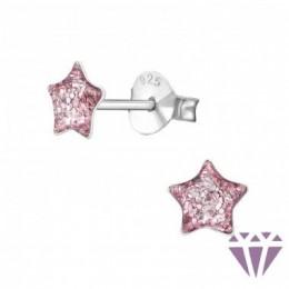 Lila csillámos csillag stift ezüst fülbevaló