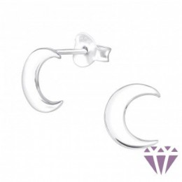 Hold stift ezüst fülbevaló, 9 x 7 mm