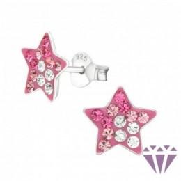 Rózsaszín köves csillag stift ezüst fülbevaló