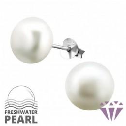 Édesvízi fehér gyöngy fülbevaló, ezüst, 10 x 10 mm
