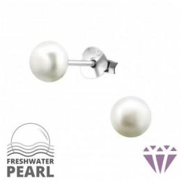 Édesvízi fehér gyöngy fülbevaló, ezüst, 5 x 5 mm