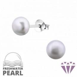 Édesvízi lila gyöngy fülbevaló, ezüst, 6 x 6 mm