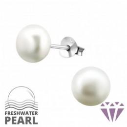 Édesvízi gyöngy fülbevaló, ezüst, 7 x 7 mm