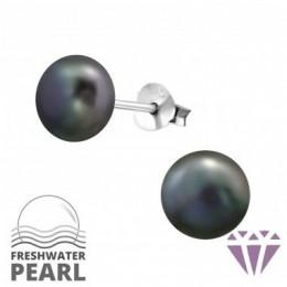 Édesvízi sötétlila gyöngy fülbevaló, ezüst, 7 x 7 mm