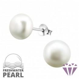 Édesvízi fehér gyöngy fülbevaló, ezüst, 9 x 9 mm