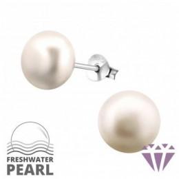 Édesvízi rózsaszín gyöngy fülbevaló, ezüst, 9 x 9 mm