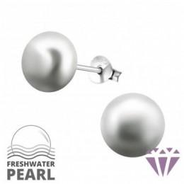 Édesvízi szürke gyöngy fülbevaló, ezüst, 9 x 9 mm