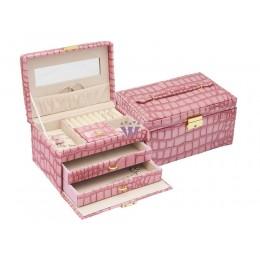 Rózsaszín több fiókos ékszerdoboz, ecobőr