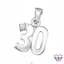 Ezüst fehér cirkónia kővel díszített 30-as szám medál