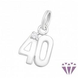 40-es szám fehér cirkónia köves ezüst medál