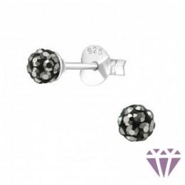 Gömb formájú ezüst fülbevaló, egy pár