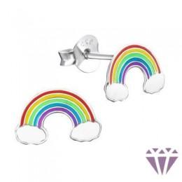 Színes ezüst zománc fülbevaló - A4S960
