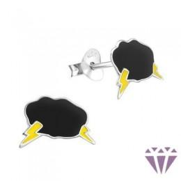 Színes ezüst zománc fülbevaló - A4S6061