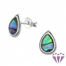Abalone stílusú ezüst fülbevaló, egy pár