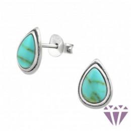 Türkiz stílusú ezüst fülbevaló, egy pár