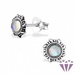 Opál stílusú ezüst fülbevaló, egy pár