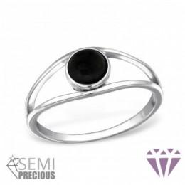 Dupla vonalas, fekete köves ezüstgyűrű