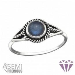 Féldrágaköves ezüst gyűrű, kék