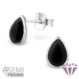 Fekete onyx féldrágaköves ezüst fülbevaló