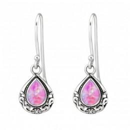 Rózsaszín opálos köves női ezüstfülbevaló