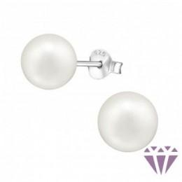 Fehér gyöngy fülbevaló, egy pár, 8 x 8 mm
