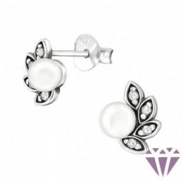 Antik hatású elegáns gyöngy stift ezüst fülbevaló