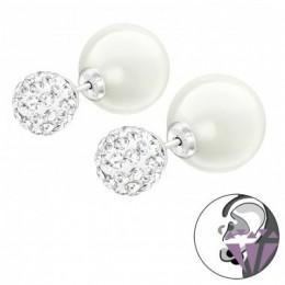 Kétoldalú, köves gyöngy stift ezüst fülbevaló