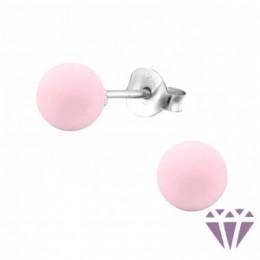 Gyöngy stift ezüst fülbevaló, rózsaszín