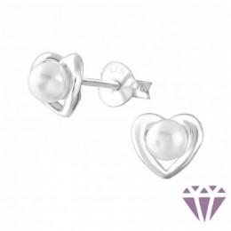 Szív formájú  gyöngy stift ezüst fülbevaló