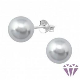 Gyöngy stift ezüst fülbevaló, szürke, 8 x 8 mm