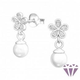 Virágos elegáns gyöngy fülbevaló, egy pár
