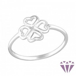 Lóhere formájú ezüst gyűrű