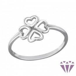 Ezüst lóhere formájú gyűrű