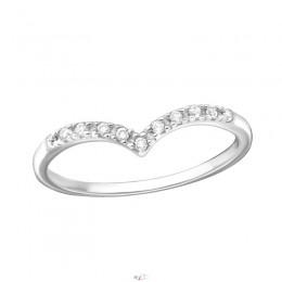 V formájú, ívelt sok köves ezüst gyűrű